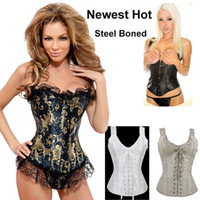 Free Shipping 2014 Women Steel Boned Corset Overbust Tops Wi...