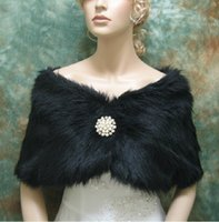 Hot Handsome Beaded Black Faux Fur Bridal Bolero Shawl Weddi...