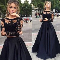 Two Pieces Black Lace Arabic Style Prom Dresses Sheer Long S...