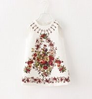 High quality baby girl kids spring fall vintage dress flower...