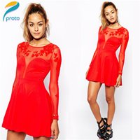 red long sleeve skater dress with scoop bow back | ivo hoogveld