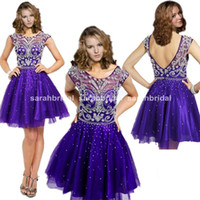 2015 Rhinestone Short Homecoming Dresses with Sheer Neck For...