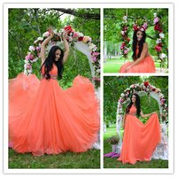 Backless Oange Prom Dresses with Crew Neckline 2015 Fast Del...