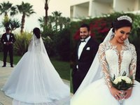 2015 Ball Gown Wedding Dresses Long Sleeves Plus Size Weddin...