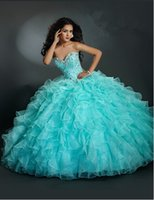 Exquisite 2015 Ball Gown Skirt Organza Ruffled Quinceanera D...