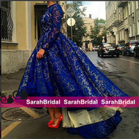 Royal Blue High Low Prom Dresses With Long Sleeves Saudi Ara...
