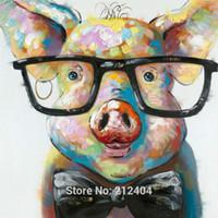Симпатичные животные Петух Осел Pig ручная роспись маслом на холсте Mural Picture Wall Art для офиса Гостиная Спальня украшения