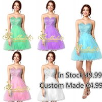 Short Prom Dresses In Stock 2015 Light Sky Blue Corset and T...