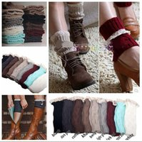 9 colors Women Crochet Button Down Boot Cuffs lace Button Br...