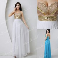 Best Selling Gold Sequined Beaded White Chiffon Wedding Even...