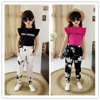 Kid Girls 2- Piece Sets Solid Letter Printed Lace Sleeveless ...