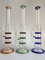 Livraison gratuite Trois couleurs trois couches cyclone d 'ouragan disque perculator verre tubes d' eau de verre tubes dabbers verre huile avec joint 14,5 mm