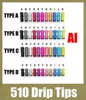 2015 goutte à goutte pointe large dhl driptips 510 large de l'alésage de la série ecig accessoires en aluminium pour la rda rba e de cigarette de l'atomiseur mini protank3 subtank FJ156