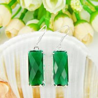 Holiday Gift - - 5pairs Lucky Shine Square Shaped Green Quart...