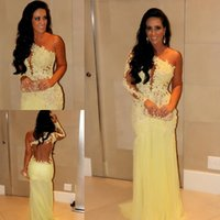 2015 Oscar Yellow Mermaid Lace Long Sleeve Prom Dresses Shee...