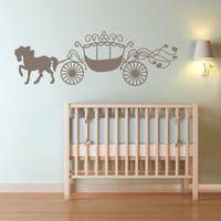 HORSE AND CARRIAGE vinyl wall sticker princess fairytale gir...