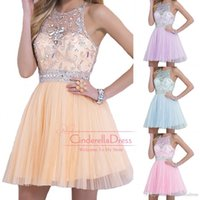 2015 Bling Homecoming Dresses Halter A line Tulle Mini Sexy ...