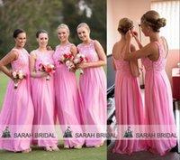 Pink Chiffon Lace Bridesmaid Dresses Cheap Under 100$ Free S...