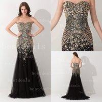Black Crystal Evening Dresses 2015 Sweetheart Beads Sleevele...