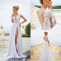 Long Sleeves Lace Chiffon Wedding Dresses 2015 See Through P...