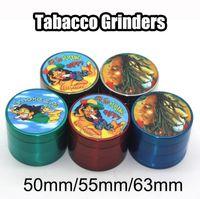 Боб Марли Измельчители Tabacco Grinder Лучшее качество 4 частей металла Измельчители самой новой конструкции 50мм 55мм 63мм Диаметр VS SharpStone Измельчители