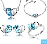S925 Sterling Silver Plated Jewelry Sets Heart Of Ocean Crys...