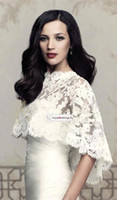 New Cap Sleeves Sheer Bridal Wraps Cape Lace Appliques Beads...