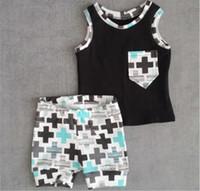 Bebê Toddler Meninos roupas bolso Tops colete e calças 2pcs roupas Outfits Set qualidade hight frete grátis