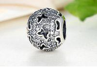 Convient Pandora Bracelets 4.5mm papillon creuse perles breloques en argent Argent Zircon 100% 925 breloques en argent sterling pour Bijoux DIY
