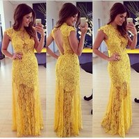 2015 Yellow Crew Evening Dresses Free Shipping Backless Floo...