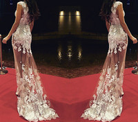 2015 Оскар Sheer знаменитости платья Русалка See Through Long Паровозик Scoop Cap рукавом платье выпускного вечера Red Carpet 2015 сексуальное платье вечера