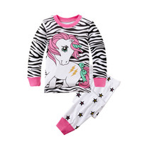 Cartoon Pony stripes Pajamas 2015 new girls children Autumn ...