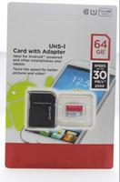 por regalo de la promoción de DHL de 64 GB 128 GB Clase 10 TF tarjeta de memoria Micro SD con adaptador paquete al por menor de destello tarjetas SD Transflash nave libre