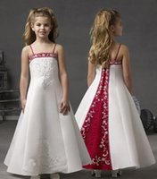 2015 White and Red Flower Girls Dresses Spaghetti Straps Ank...