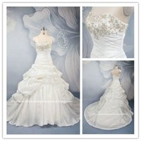 Real Pictures Ball Gown Wedding Dresses with Embroidery 2015...