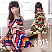 For Big Children Girls Dress Clothes 2015 Summer Girl Floral...