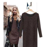 New hot fall winter Women knitted long sleeve bodycon mini d...