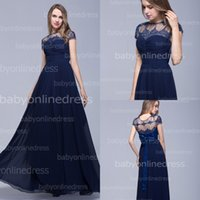 Hot Dark Nay Lace Chiffon Bridesmaid Dresses 2014 Sheer Bate...