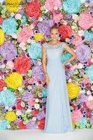 Ronald Joyce платья невесты Бато длина пола Небесно-голубой шифон рукавов блокированного Pleats Дешевые Кружева 29106