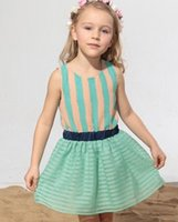 Summer Sleeveless Striped Children Girls Green Blue Dresses ...