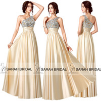 2015 IN STOCK Beaded Evening Gowns Prom Dresses A- Line One- S...