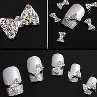 10шт 3D Блестящий галстук Кристалл Rhinestone сплава Nail Art Glitter Наклейки Совет DIY украшения Бесплатная доставка