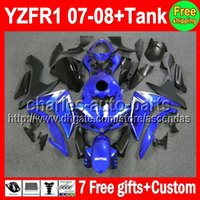7gifts+ Tank Factory blue For YAMAHA YZF- R1 07- 08 YZF R1 YZF1...