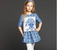 2015 Autumn Wlmonsoon Girls Dresse Flower Print Pure Cotton ...