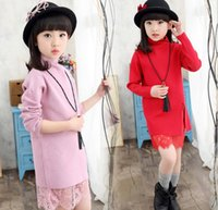 2016 Girls Lace Sweater Dress Children Clothing Gauze Sweate...