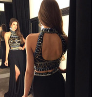 Beaded Collar Two Pieces Prom Dresses 2016 Sexy Hollow Back ...