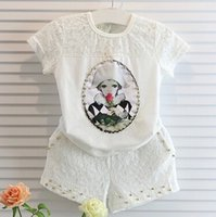 Kid Girls 2- Piece Sets Tracksuit White Lace Hollow Printed T...