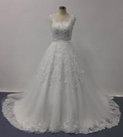 Свадебные платья Bellissima 2016 бальное платье Sheer V шеи рукава Cap Кружева аппликация Часовня Поезд Недвижимость дизайнерские свадебные платья изображения