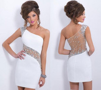 2015 White one- shoulder crystal sheer sheath homecoming dres...
