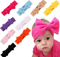 New Fashion Baby Solid Cotton Hair Bow Headband Toddler Hand...